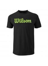 Wilson M Scriprt Cotton Tee/Bk/Blade Green