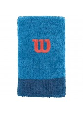 Напульсники WIlson Extra Wide Wristbands Blithe/Deep Water/ Hot Coral